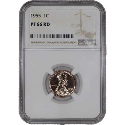 1955 PROOF LINCOLN WHEAT CENT PENNY 1C NGC CERTIFIED PF PR 66 RD SPOT HAZE FREE