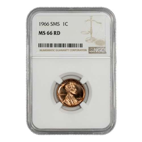 1966 SMS LINCOLN MEMORIAL CENT PENNY 1C NGC CERTIFIED MS 66 RD