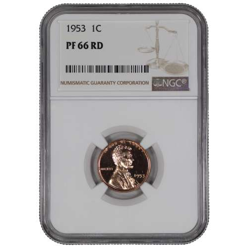 1953 PROOF LINCOLN WHEAT CENT PENNY 1C NGC CERTIFIED PR PF 66 RD SPOT HAZE FREE