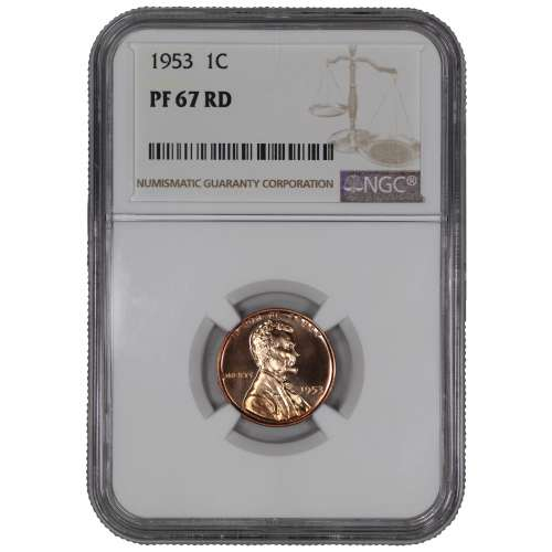 1953 PROOF LINCOLN WHEAT CENT PENNY 1C NGC CERTIFIED PF PR 67 RD SPOT HAZE FREE