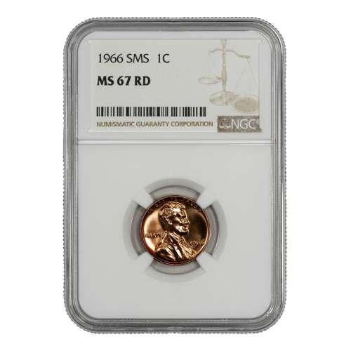 1966 SMS LINCOLN MEMORIAL CENT PENNY 1C NGC CERTIFIED MS 67 RD