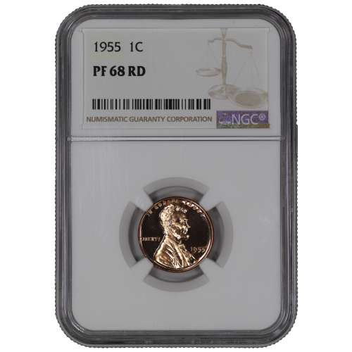 1955 PROOF LINCOLN WHEAT CENT PENNY 1C NGC CERTIFIED PR PF 68 RD SPOT HAZE FREE