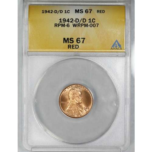 1942-D/D RPM-6 WRPM-007 RED ANACS MS-67