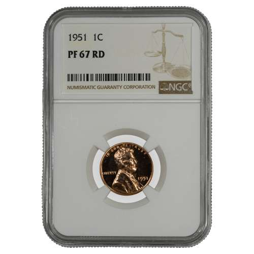 1951 PROOF LINCOLN WHEAT CENT PENNY 1C NGC CERTIFIED PF PR 67 RD SPOT HAZE FREE