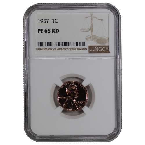 1957 PROOF LINCOLN WHEAT CENT PENNY 1C NGC CERTIFIED PF 68 RD