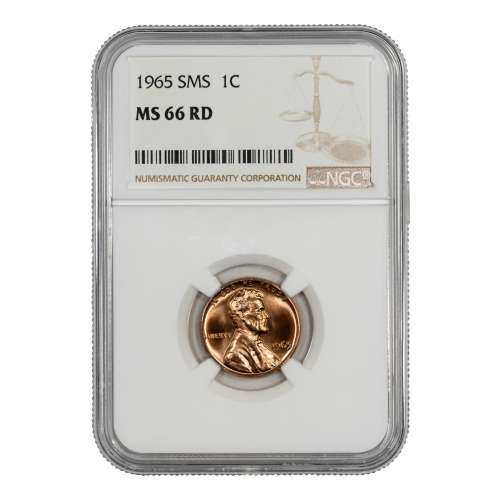 1965 SMS LINCOLN MEMORIAL CENT PENNY 1C NGC CERTIFIED MS 66 RD