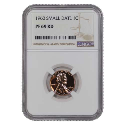 1960 SMALL DATE PROOF LINCOLN MEMORIAL CENT PENNY 1C NGC CERTIFIED PF 69 RD