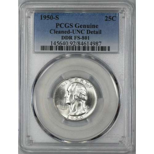 1950-S DDR FS-801  PCGS Genuine  - UNC Details (92 - Cleaned)