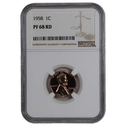 1958 PROOF LINCOLN WHEAT CENT PENNY 1C NGC CERTIFIED PF 68 RD