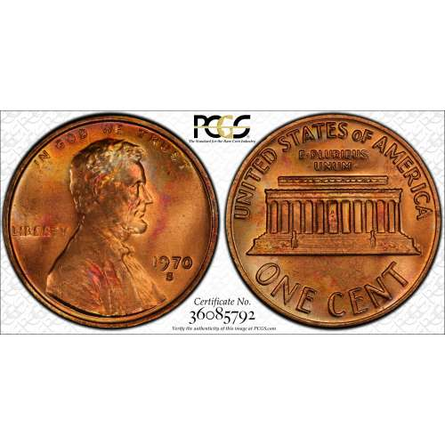 1970-S Small Date RD PCGS MS-64