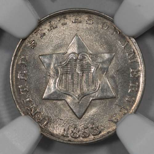 1853 CLEANED  NGC UNC Details