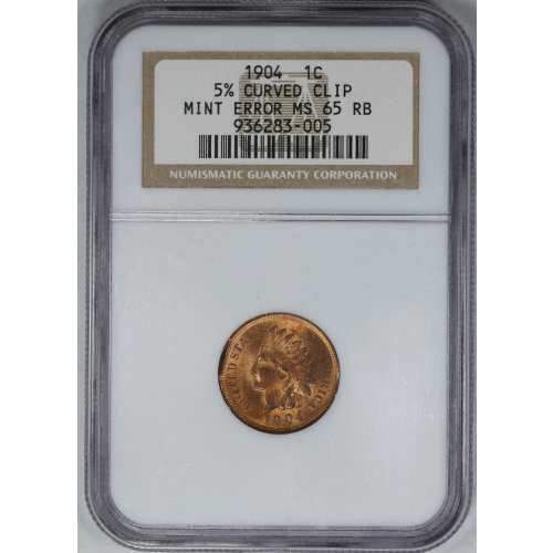 1904 5% CURVED CLIP MINT ERROR RB NGC MS-65